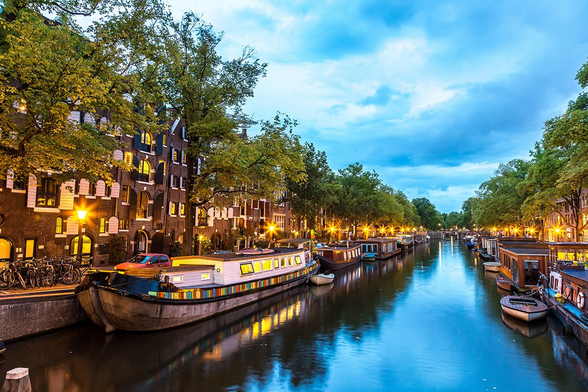 Amsterdam Barges at Night