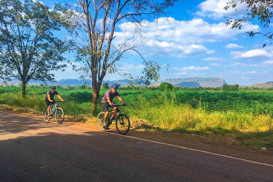 Cycling through farmland and countryside in Thailand