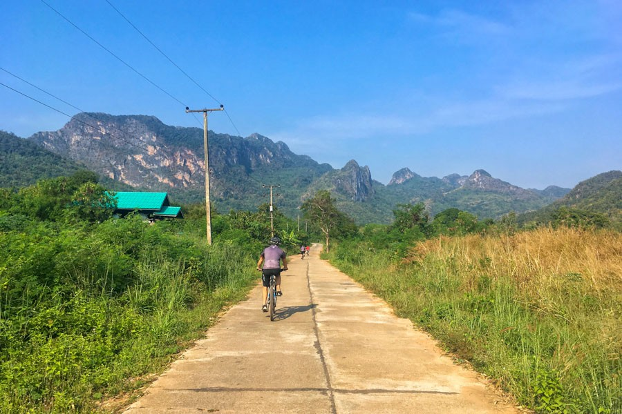 Limestone peaks towering over the River Kwai valley