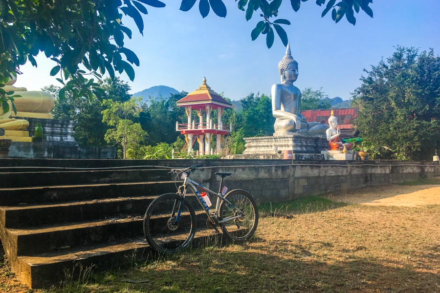 Bike by temple in Thailand
