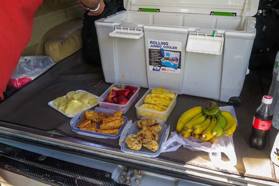 Fruit and snacks in the back of the support van