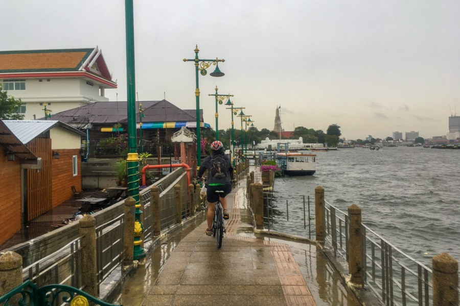 Cycling next to the Chao Phraya River