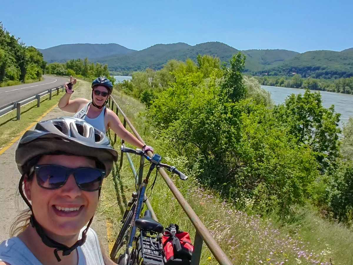 Cyclists on Danube cycle path
