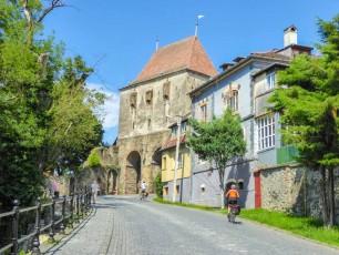 Cycling in to Sighisoara, Romania
