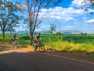 Cycling through farmland and countryside in Thailand