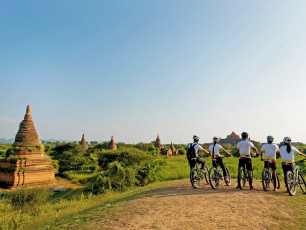 MY001 Highlights of Myanmar - Bikes overlooking temples - © Grasshopper Adventures