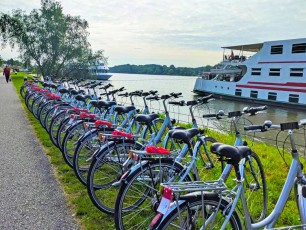 Bikes along the river Danube