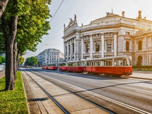 Wiener Ringstrass, Burgtheater With red Tram in Vienna Austria