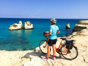 Puglia - cyclist by coast